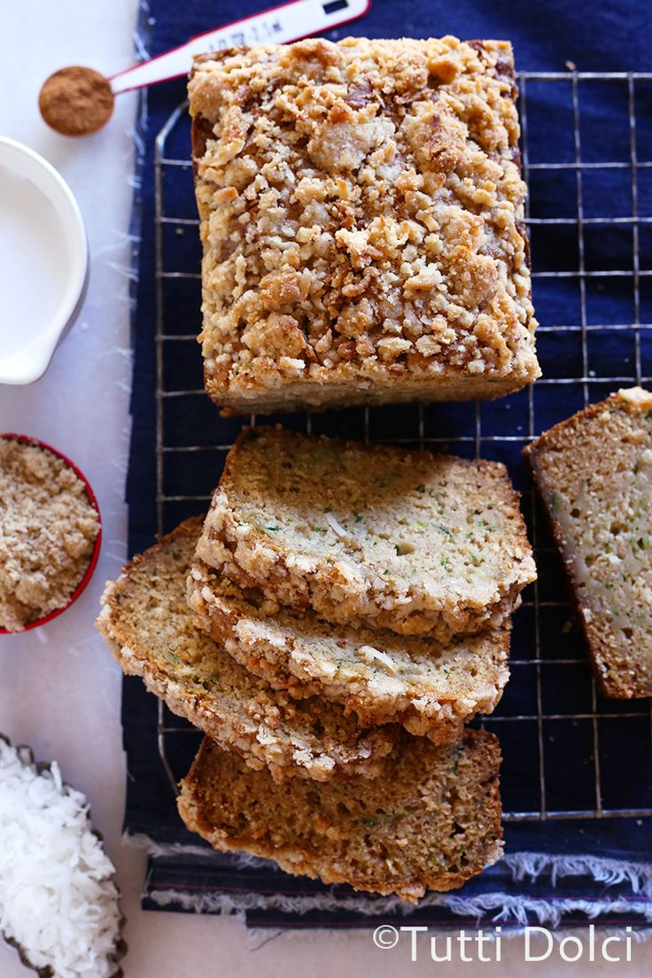 Coconut Zucchini Bread with Coconut Crumb Topping | Tutti Dolci. maybe substitute plain flour for coconut flour?