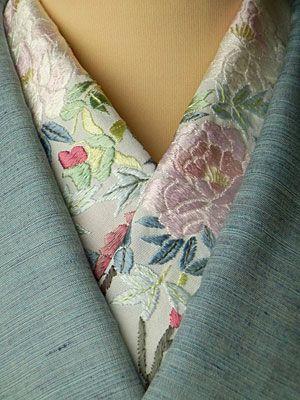 牡丹 手刺繍半衿