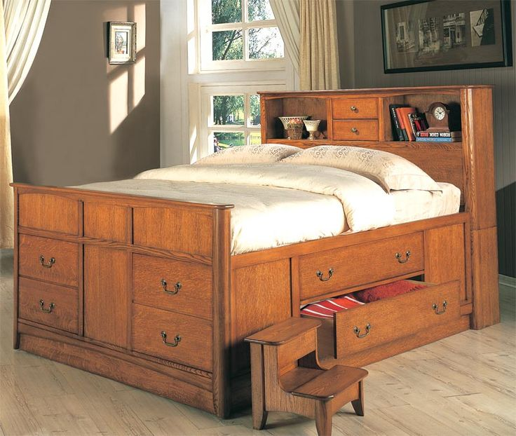 Country Oak Bookcase Storage Bed Choose Queen Or King