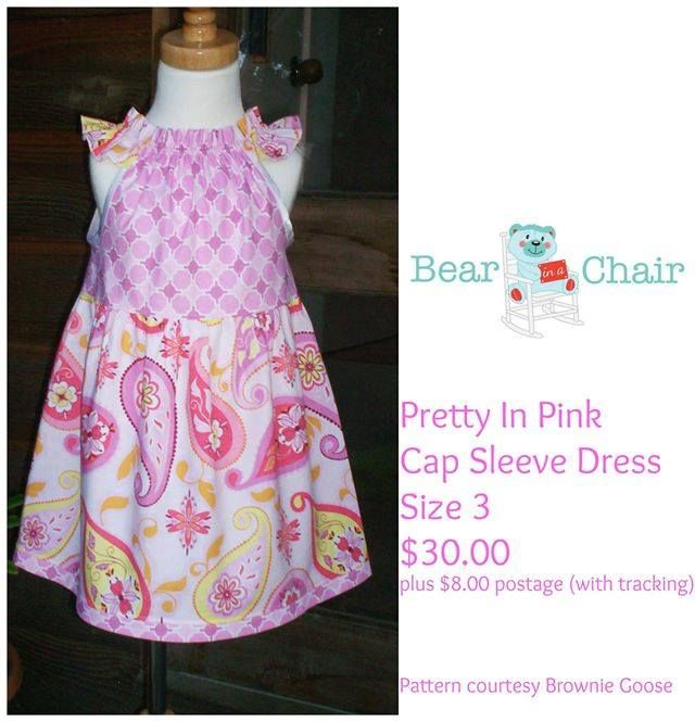 Handmade By Bear In A Chair Pretty In Pink Cap Sleeve Dress Size 3