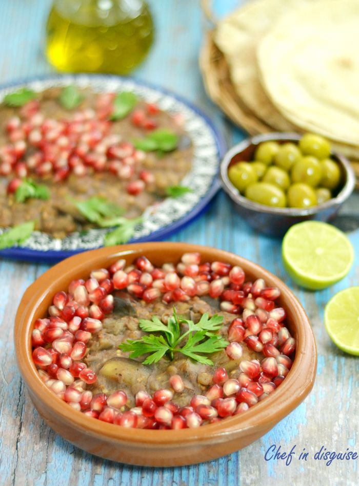 Palestinian Romania (Eggplant and lentils cooked in Pomegranate sauce)