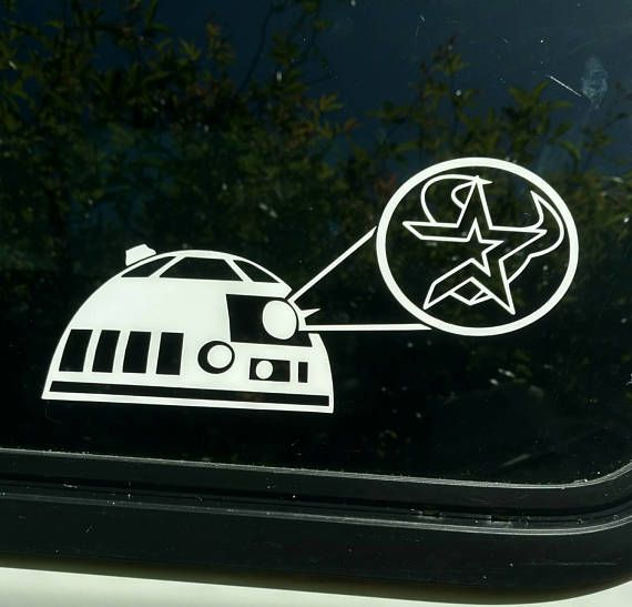 Astros texans star wars r2d2 die cut vinyl decal sticker shirt baseball football texas houston team vehicle window vintage retro logo decal