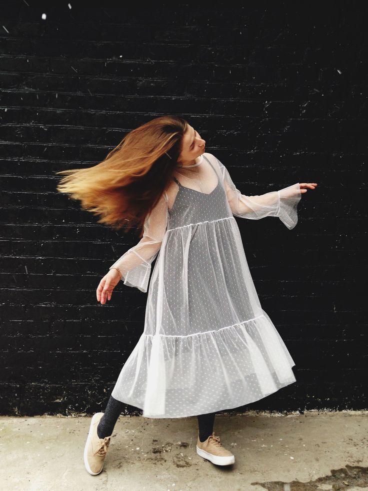 Mesh Dress, Mesh Tunic, Transparent dress, Boho dress, Sheer mesh dress, Flared sleeves,Polka dot finish, Tulle Loose dress, Festival dress by LikeShop2U on Etsy