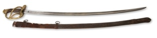 Gen. Stuart purchased this model 1860 U. S. Officer's Light Cavalry saber with leather-covered steel scabbard in 1860. It was made in France by Devisme, and carried by Stuart during the Civil War.  at the MOC