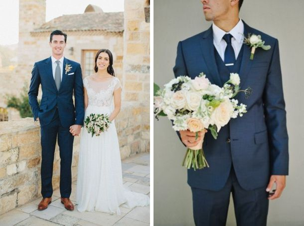 Navy Suits for Grooms | Love the suit with the gray tie on the left