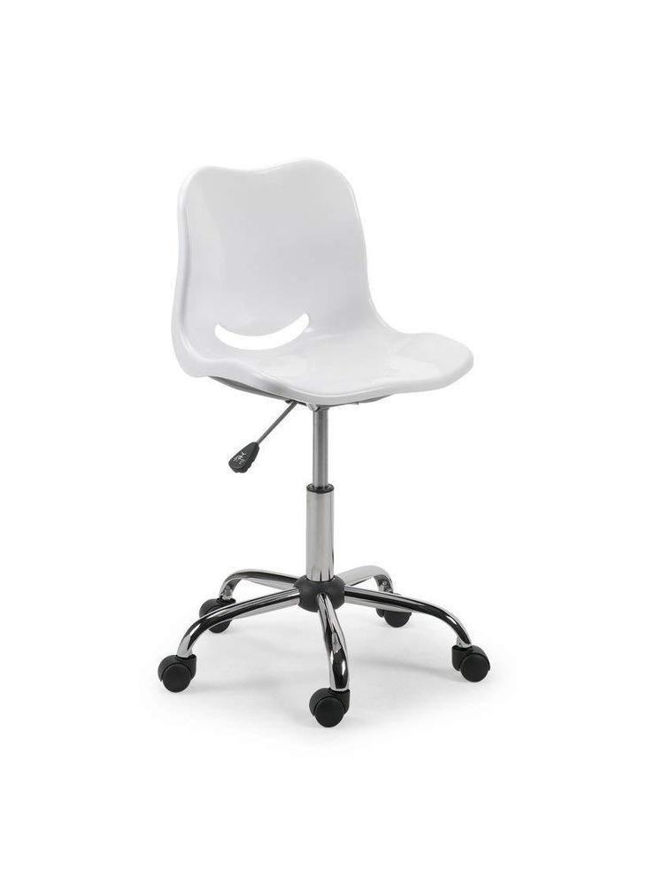 White Swivel Task Chair Kids Children Desk Seat Plastic Metal Study