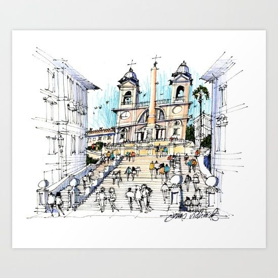 Collect your choice of gallery quality Giclée, or fine art prints custom trimmed by hand in a variety of sizes with a white border for framing. https://society6.com/product/the-spanish-steps-rome_print?curator=wellglow