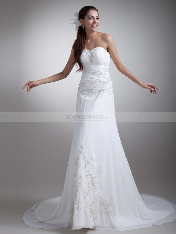 Sweetheart Chiffon Empire Wedding Dress with Embroidery and Ruched Bodice