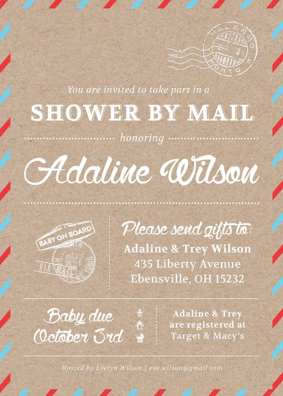 Shower By Mail Invitation // Mail Themed Baby Shower on Etsy for Military families living far away..