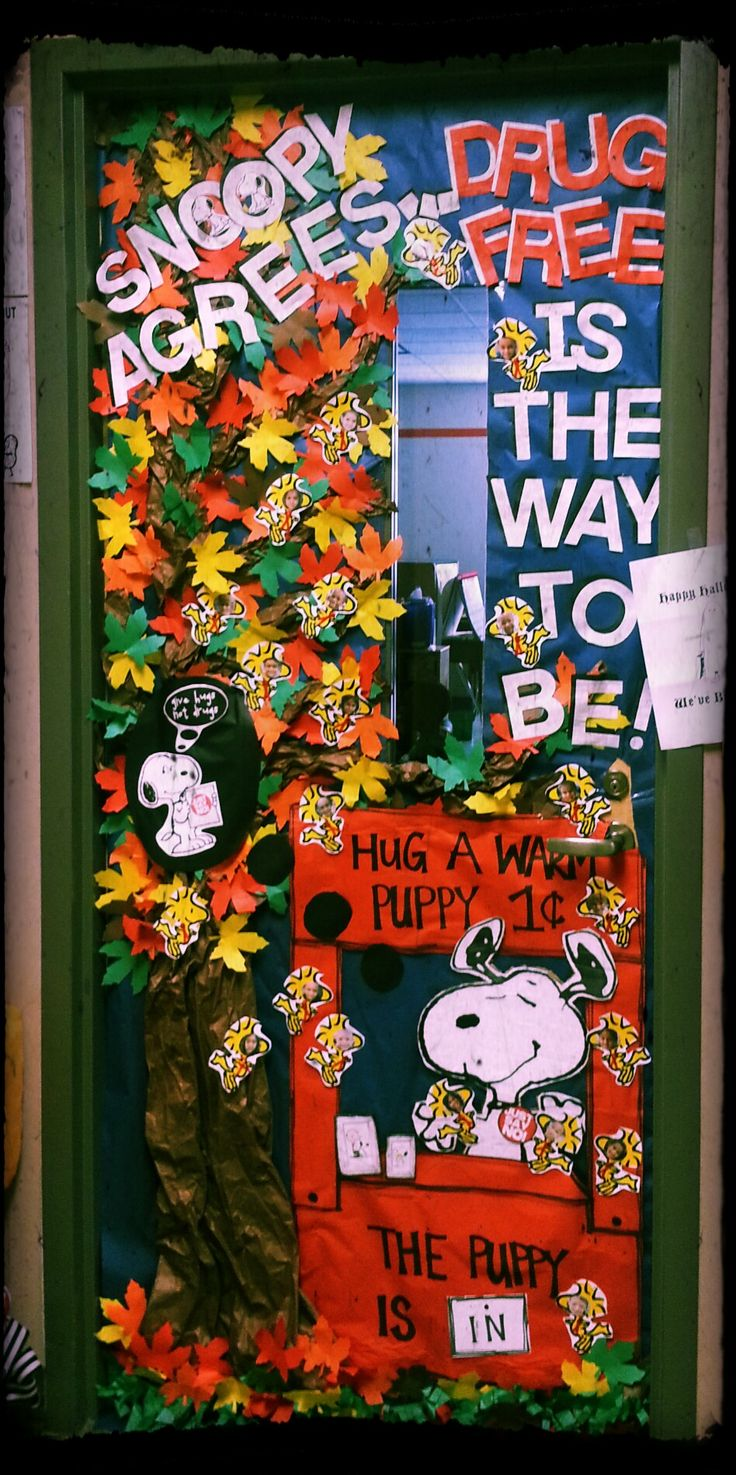 11 best red ribbon week images on Pinterest Drug free door - Halloween Classroom Door Decorations