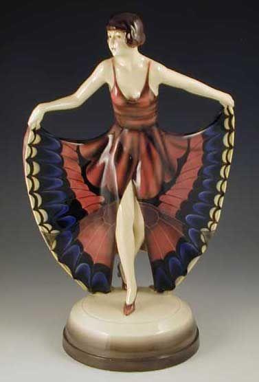 Goldscheider Lorenzl Art Deco Ceramic Figurine - Butterfly Dancing Girl