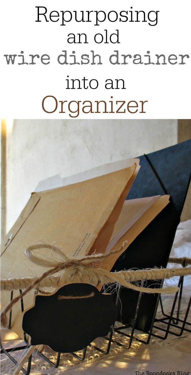 adding twine to an old dish rack and using it as an organizer Wrapping up the wire dish rack Theboondocksblog.com #organizing #fileorganizer #repurposing #easyDIY Repurposedwiredishrack