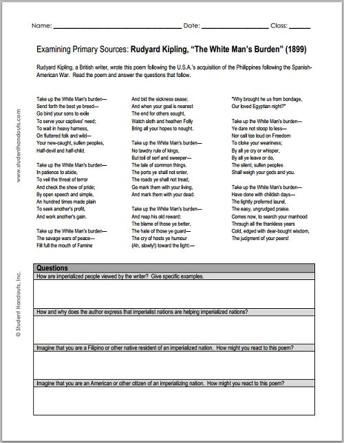 "Imperialism - Rudyard Kipling's ""The White Man's Burden"" (1899) - Free Printable DBQ Worksheet for Grades 7-12"