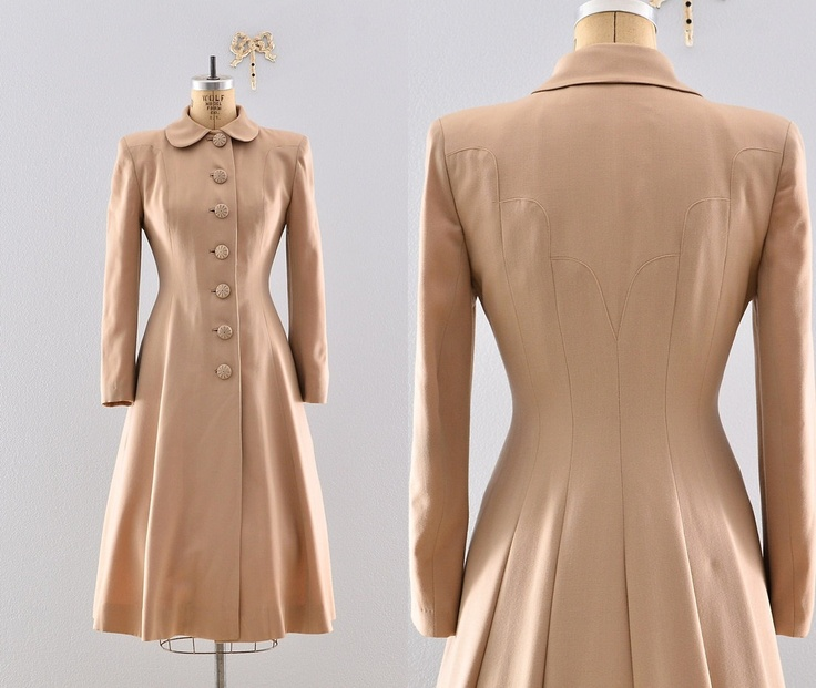 "Gabardine 40s coat / Lilli Ann ""New Look"" / Rare 1940s Princess Coat. $578.00, via Etsy."