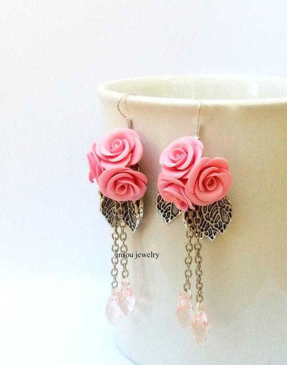 Rose rosa rosa orecchini fiore Orecchini Rose di insoujewelry
