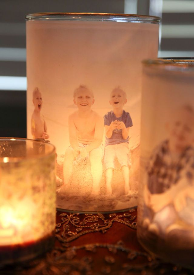Surprise grandma with these personalized votives that elegantly show off family photos.  Get the tutorial at Our Best Bites.   - CountryLiving.com