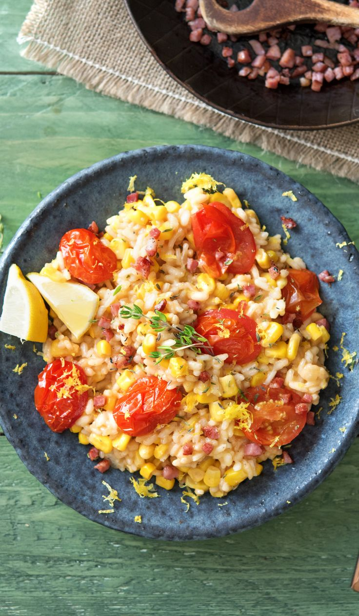 Oven-Baked Corn and Tomato Risotto with Pancetta, Thyme, and Parmesan | HelloFresh Recipe