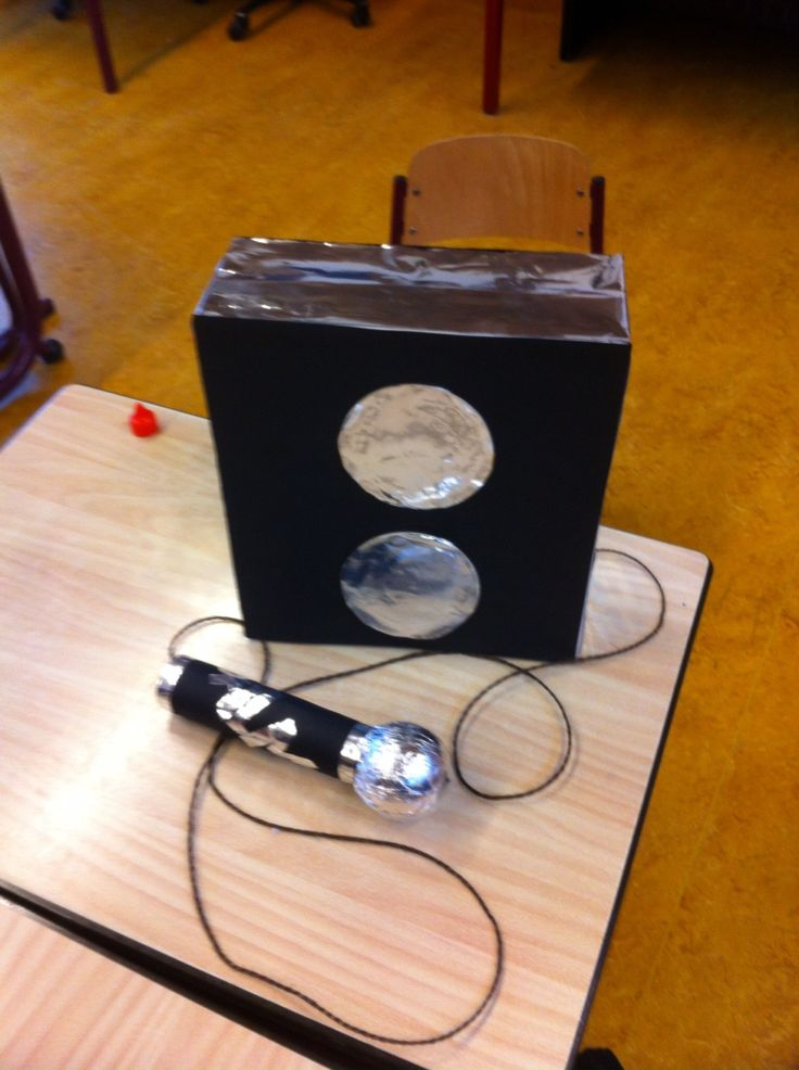 Microfoon met de naam van het meisje en een geluidsbox waar de cadeaus inzitten