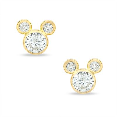 Child S Cubic Zirconia Mickey Mouse Stud Earrings