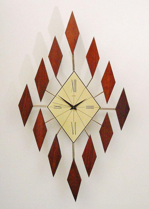 Starburst Clock of Diamonds Mid Century Modern Sunburst Clock. 1960s
