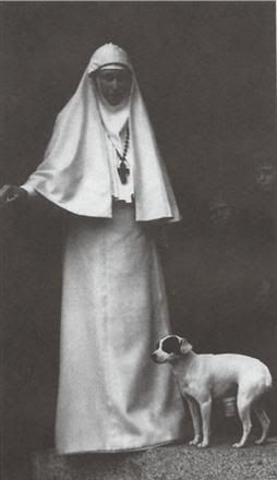 Grand Duchess Elivitsia in Russian Orthodox nun's habit. Sister of Alexandra. When Ella's husband was murdered, she started her own holy order in Moscow, administering medical aid to the poor.  During the revolution, she was captured and sent into exile where she was murdered along with several other Romanov family members.  Today, she is venerated as a Saint of the Russian Orthodox Church.