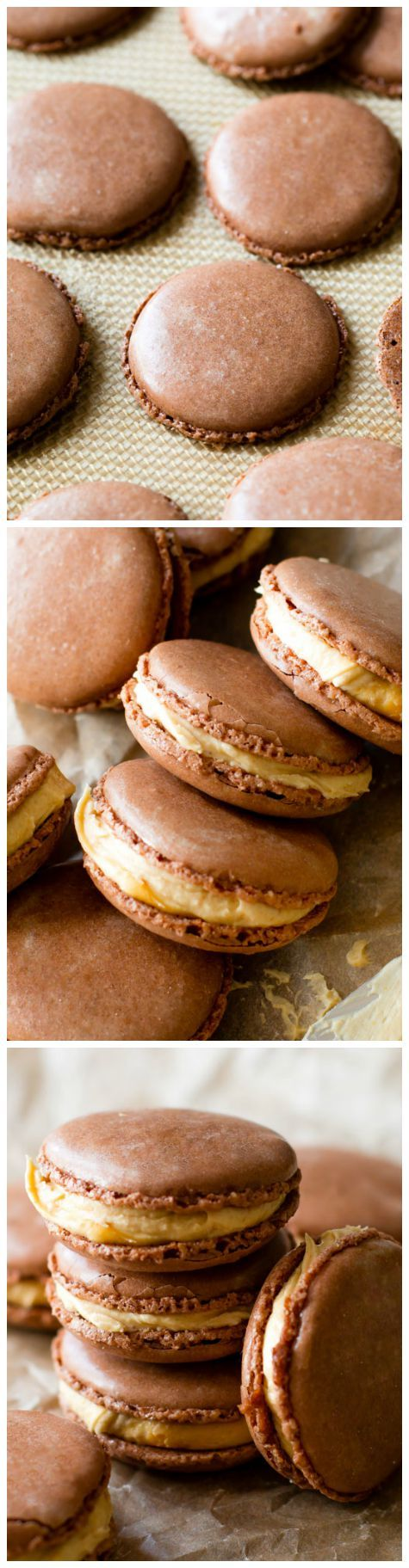 Here's EXACTLY how to make chocolate peanut butter macaron cookies! Learn all my tips and tricks on sallysbakingaddiction.com