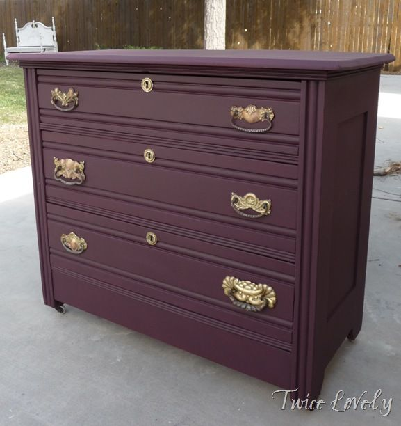 Dark plum colored dresser....yes please. To match my purple tones bedroom.