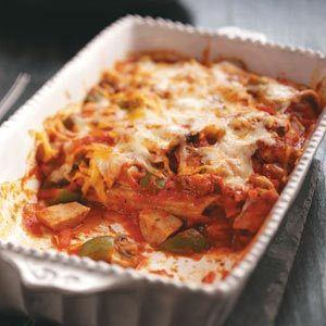 Chicken & Sausage Manicotti Casserole Recipe from Taste of Home