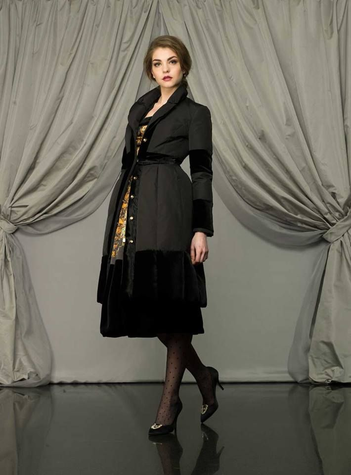 Larusmiani #Women Collection FW2013 Special #Christmas  Larusmiani Woman ewars a cashmere lined silk down #jacket with jewel buttons and a silk evening #dress structured with a built-in corset in black velvet, with a gold background.   #handmade #luxuryclothing #fashion #style #Italy #Milan
