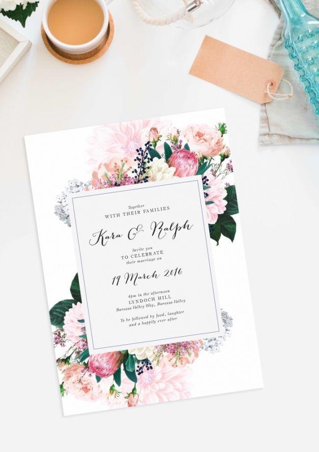 pretty protea wedding invitations vintage botanical wedding invite dahlia berries roses sail and swan wedding stationery canberra sydney perth brisbane adelaile melbourne australia #weddinginvitation