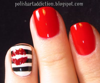 So cute! Striped accent nail with kissy-lips and a rich vibrant red @PolishArtAddiction