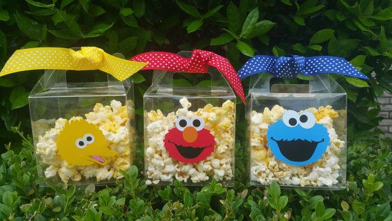 Set de 8 - Elmo palomitas bolsas Favor de Elmo, Elmo tratar caja, cubo de las palomitas, caja del Favor de partido Elmo, Cookie Monster Party, Elmo fiesta tazas