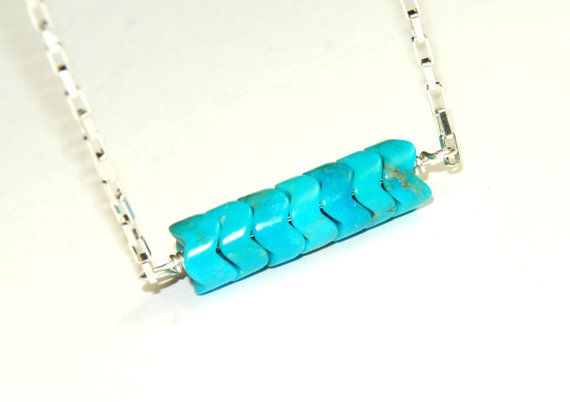 Genuine Turquoise Necklace  Natural Stone Jewelry  by ELEVEN13