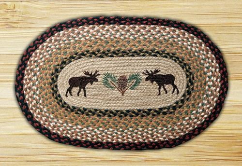 """This Moose and Pinecone Oval Braided Rug makes a great addition to any home's rustic decor. Dimensions: 20"""""""" x 30"""""""" Made from 100% natural jute fiber Eco-friendly and biodegradable Water resistant and"""