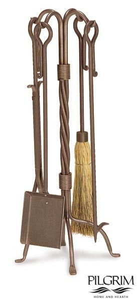 Based on Old World designs, Pilgrim's Traditional Fireplace Tools in Vintage Iron are the perfect compliment to your classic hearth. This set includes shovel, poker, tongs and long-fiber corn broom.
