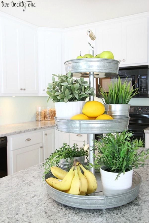 tiered stand for fresh produce helps to declutter kitchen counters via the twenty one / Grillo Designs www.grillo-designs.com