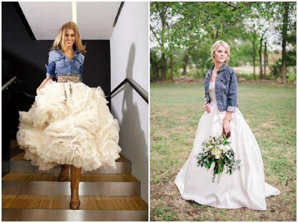 la bonne association robe de mariée et veste en jean