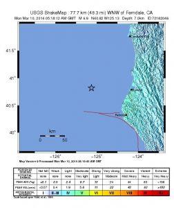 Σεισμός 6.9 σημειώθηκε ανοικτά των ακτών της Βόρειας Καλιφόρνια