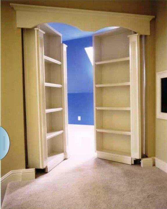 Bookcase leads into secret room