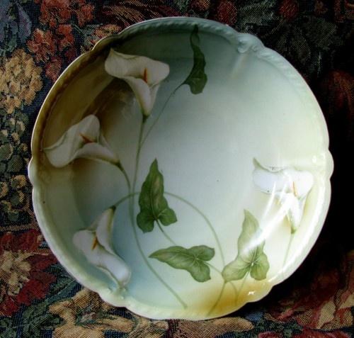 Antique 1925 RS Prussia Edwardian Porcelain Calla Lily Art Nouveau Bowl