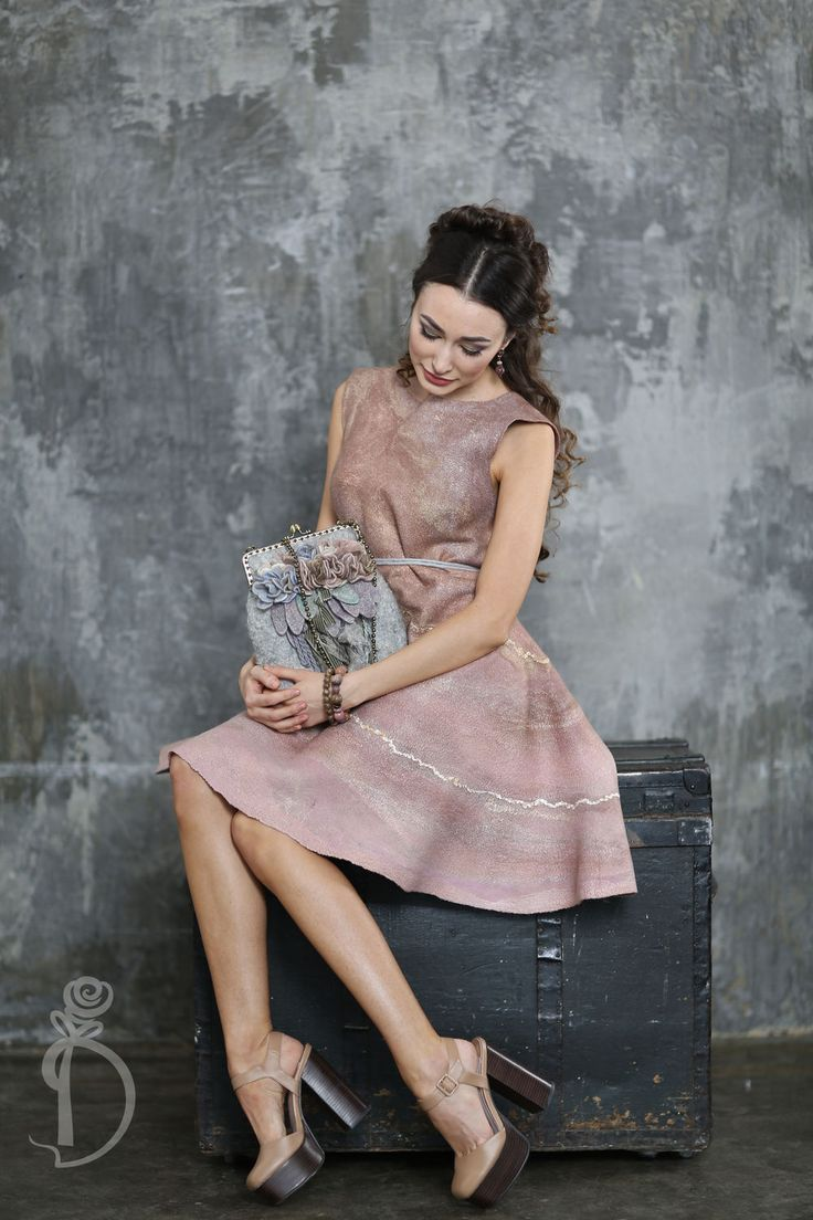 Купить Валяное платье «Золотое утро» - золотой, street style, валяное платье