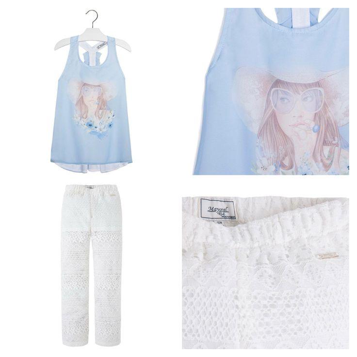 Кружевные брюки, шифоновая блузка для девочек 10-28 лет. #mayoral #майорал
