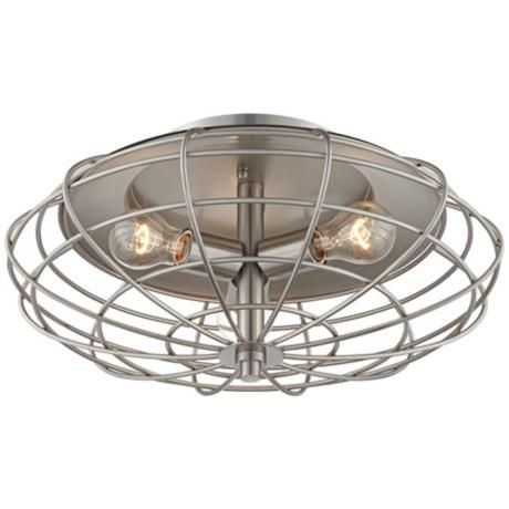 "Brand New light fixture from Lamps Plus....Industrial Cage Nickel 7 1/2"" High Ceiling Light Fixture 