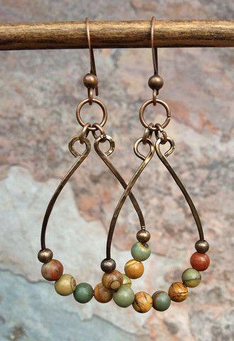 Bohemian Jewelry/ Natural Stone Jewelry / Copper Earrings / Boho Earri