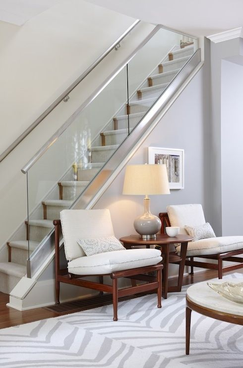 Suzie: Sarah Richardson Design - Gray glass staircase, walls paint color, mid-century modern ... Para Paints Courtyard