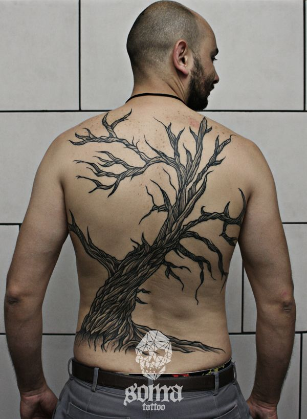 Gestalt back piece tattoo by Soma Tattoo Athens