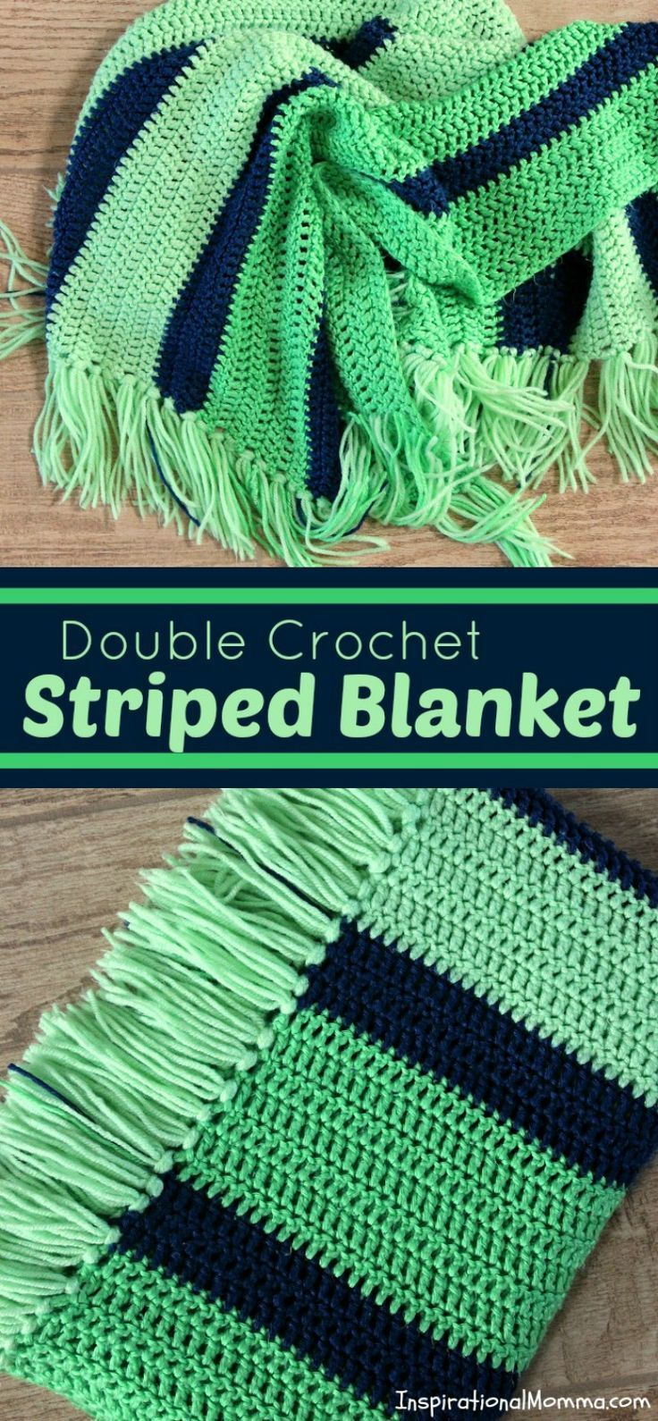 Double Crochet Striped Blanket By Tanille - Free Crochet Pattern - (inspirationalmomma)