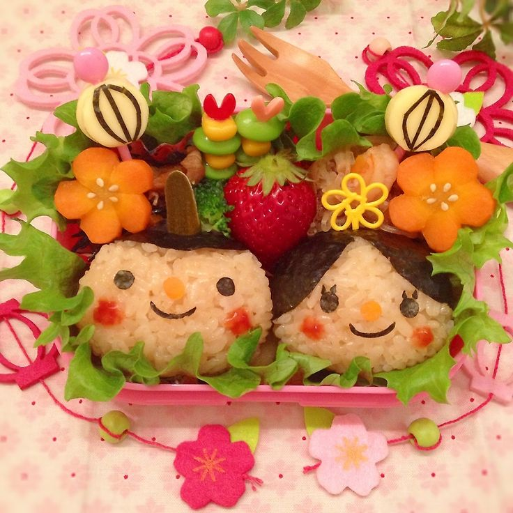 娘のお弁当♡  もうすぐひな祭り♡(◍′◡‵◍)♡  お内裏様とお雛様とぼんぼりでひな祭りっぽくしてみました♡((´艸`*))♡