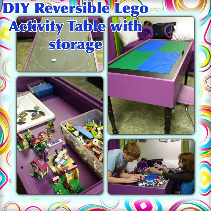 Easy DIY Reversible Lego Activity Table with Storage | Educare Homeschool