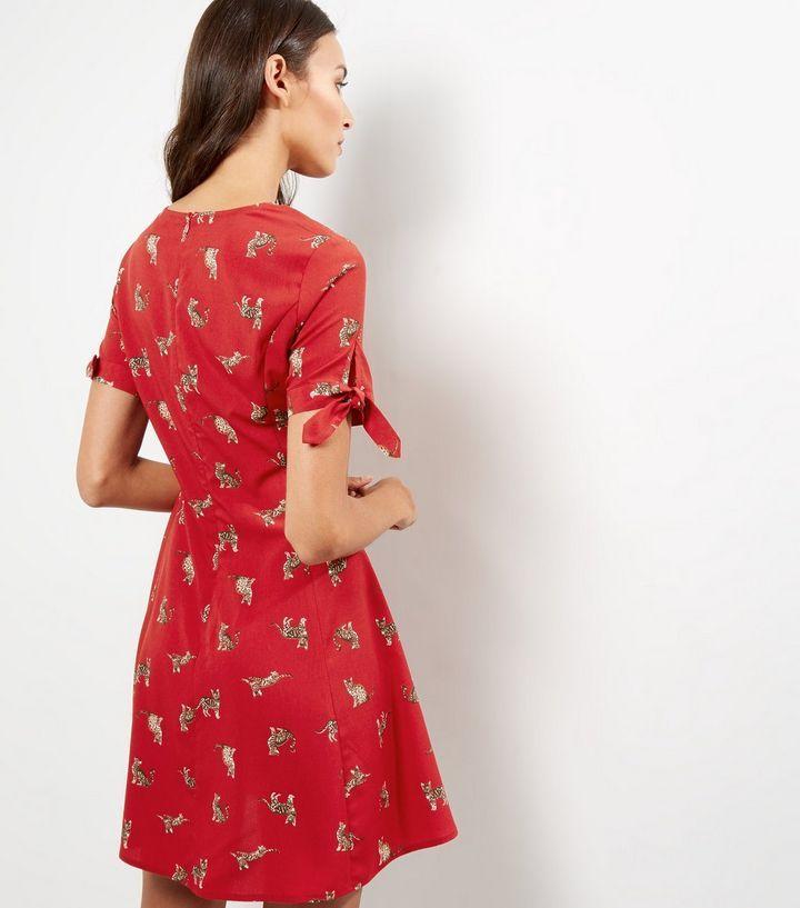 Red Cat Print Tie Sleeve Skater Dress | New Look